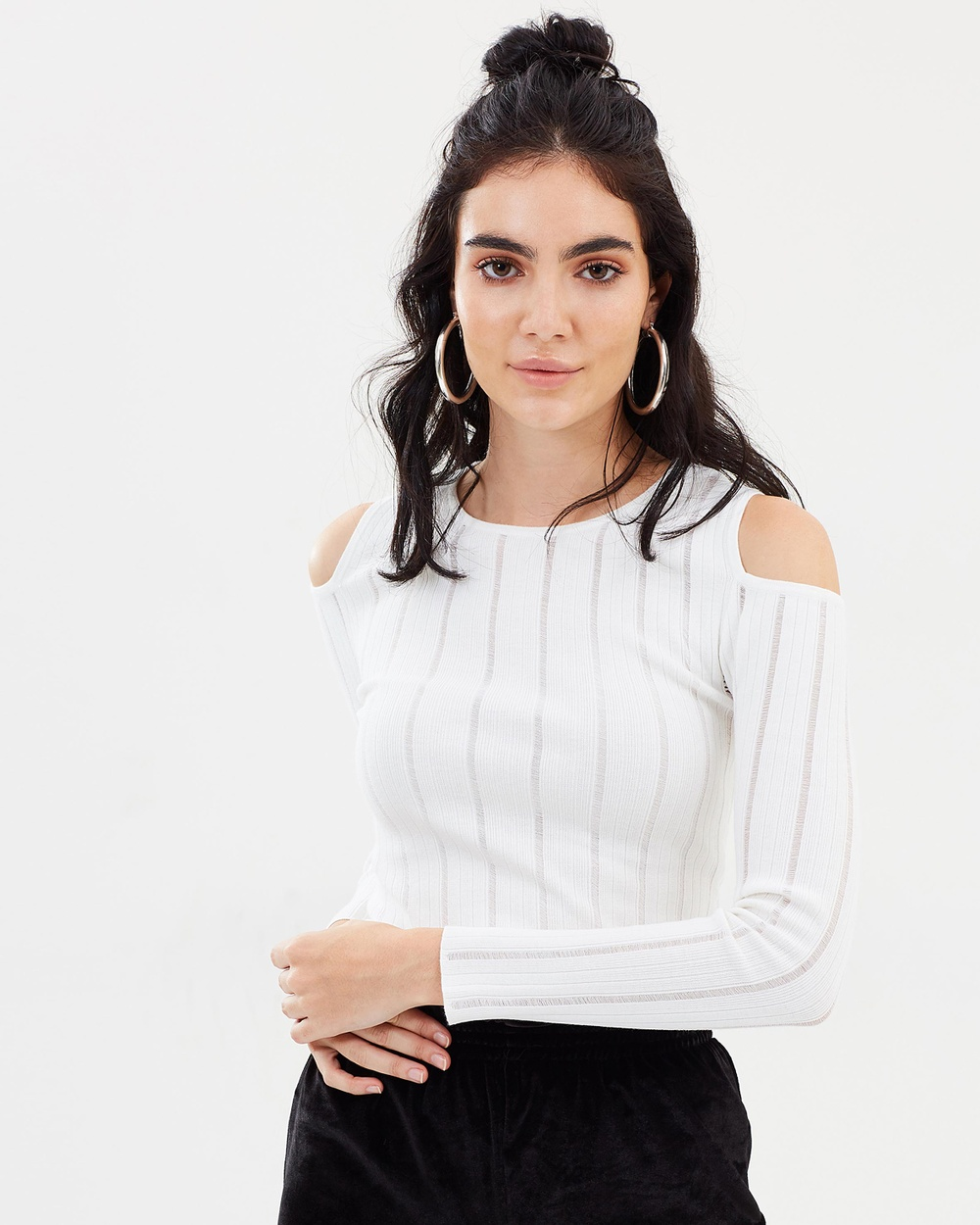 Dazie Blair Cut Out Shoulder Knit Tops Off White Blair Cut Out Shoulder Knit