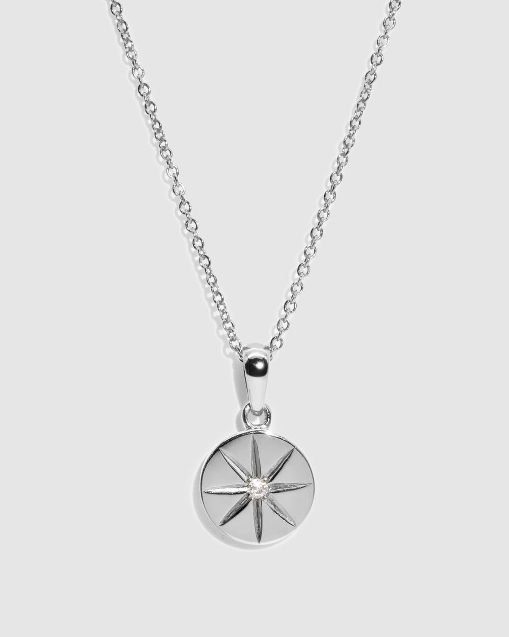 Molten Store The Silver Diamond Compass Necklace Jewellery Silver