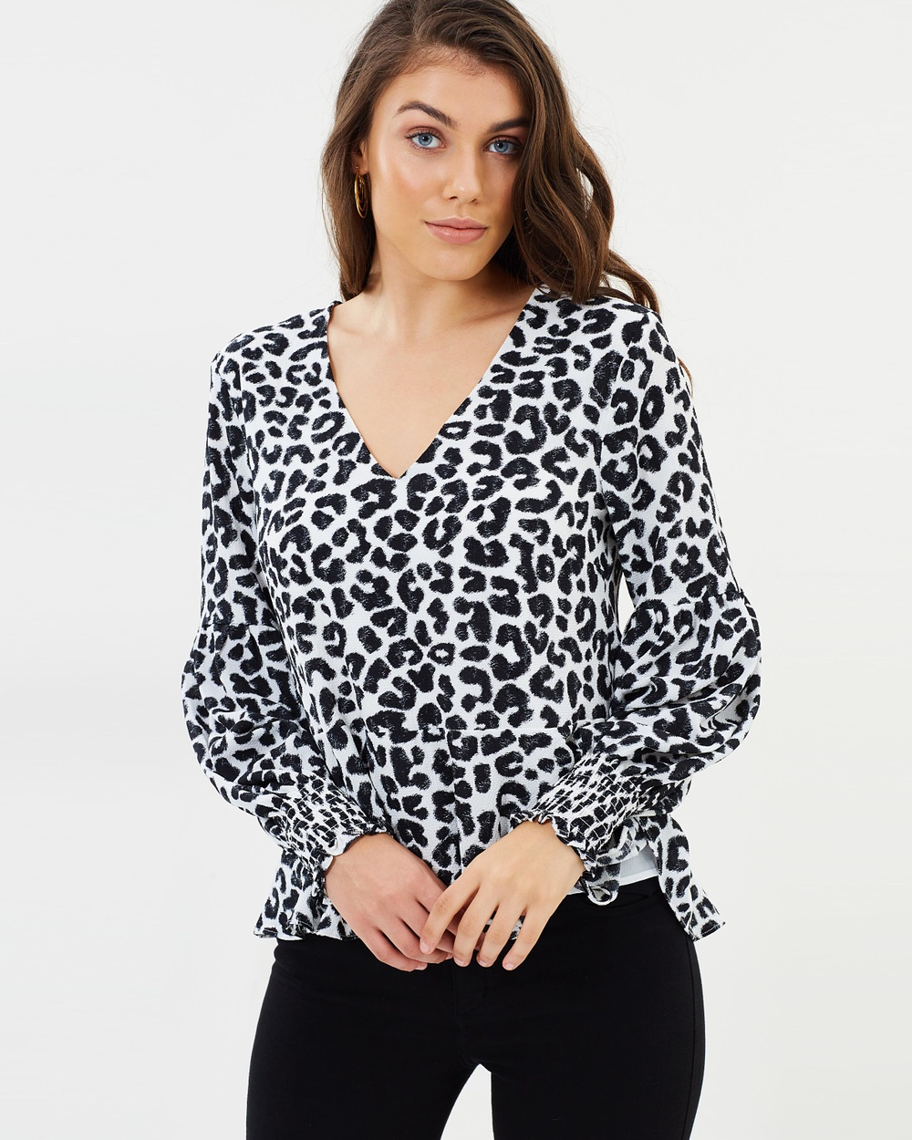 Atmos & Here ICONIC EXCLUSIVE Lois Shirred Sleeve Top Tops Leopard ICONIC EXCLUSIVE Lois Shirred Sleeve Top