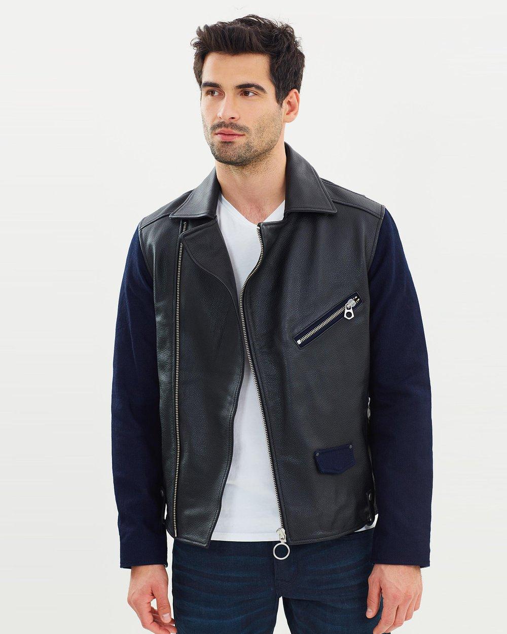 e0681852b Ams Blauw Leather Biker Jacket by Scotch   Soda Online