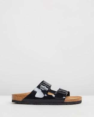 Birkenstock Unisex Arizona Birko Flor Patent Sandals - Casual Shoes (Patent Black)