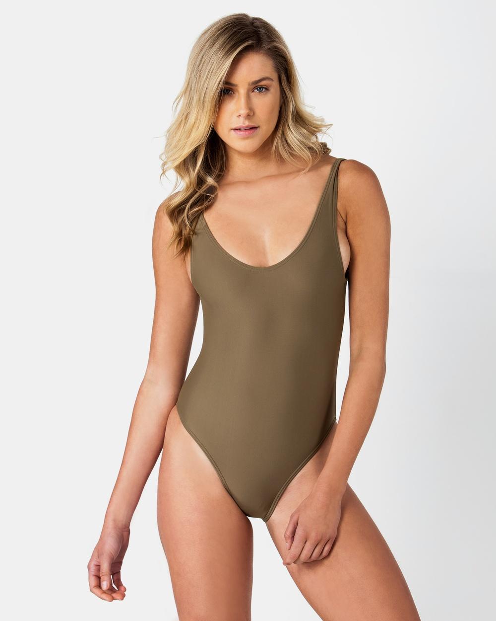 ONEBYONE Blank Swimsuit One-Piece / Swimsuit Khaki Blank Swimsuit