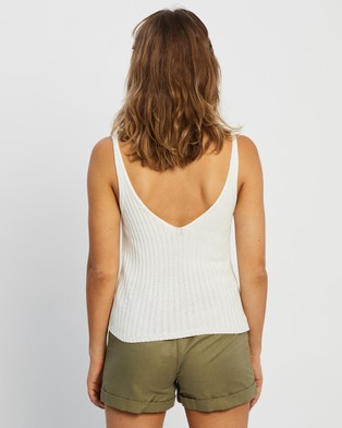 Staple the Label Crescent Knit Tank - Tops (White)
