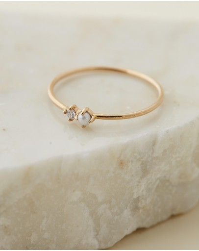 By Charlotte 14k Gold Light Of The Moon Ring Solid Fresh Water Pearl Diamond