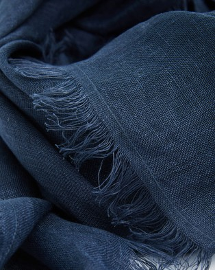 Cloth & Co. Hand Loomed Linen Scarf - Scarves & Gloves (French Navy)