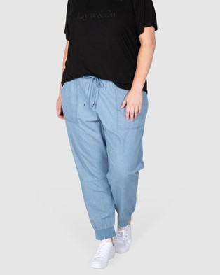 Love Your Wardrobe Rebecca Rib Trim Chambray Pant Cargo Pants Indigo Blue