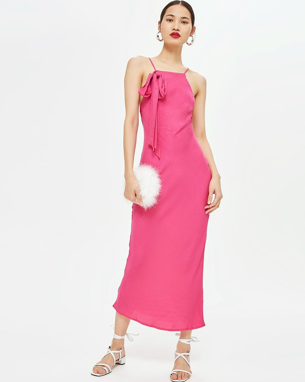 TOPSHOP Jacquard Bow Slip Midi Dress Dresses Bright Pink Jacquard Bow Slip Midi Dress