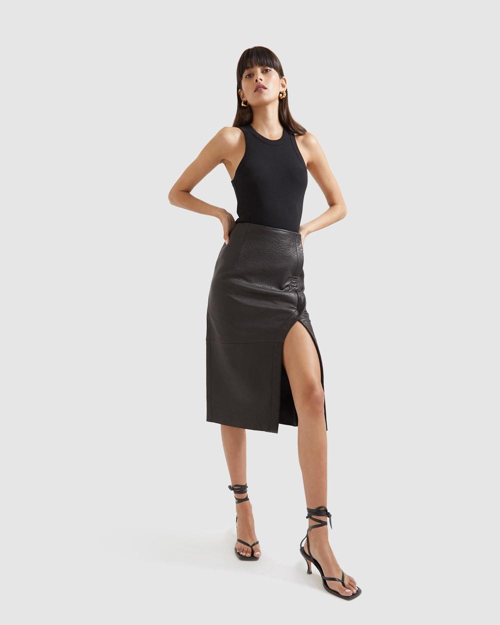SABA Lilia Leather Pencil Skirt skirts Black