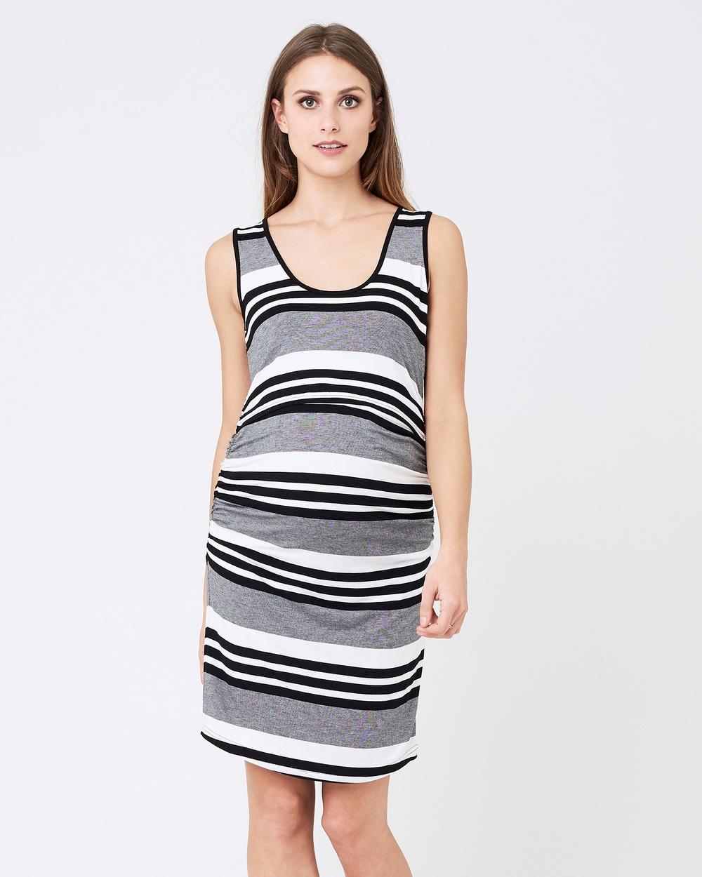 Ripe Maternity Stripe Nursing Dress Bodycon Dresses Black-White Stripe Nursing Dress