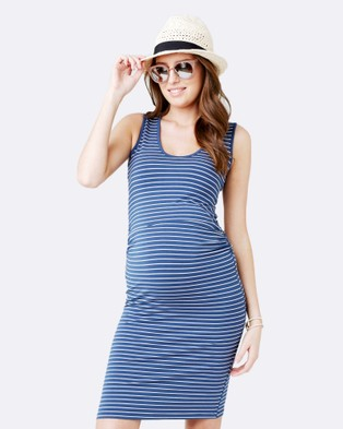 Ripe Maternity – Mia Stripe Tank Dress – Bodycon Dresses Washed Indigo