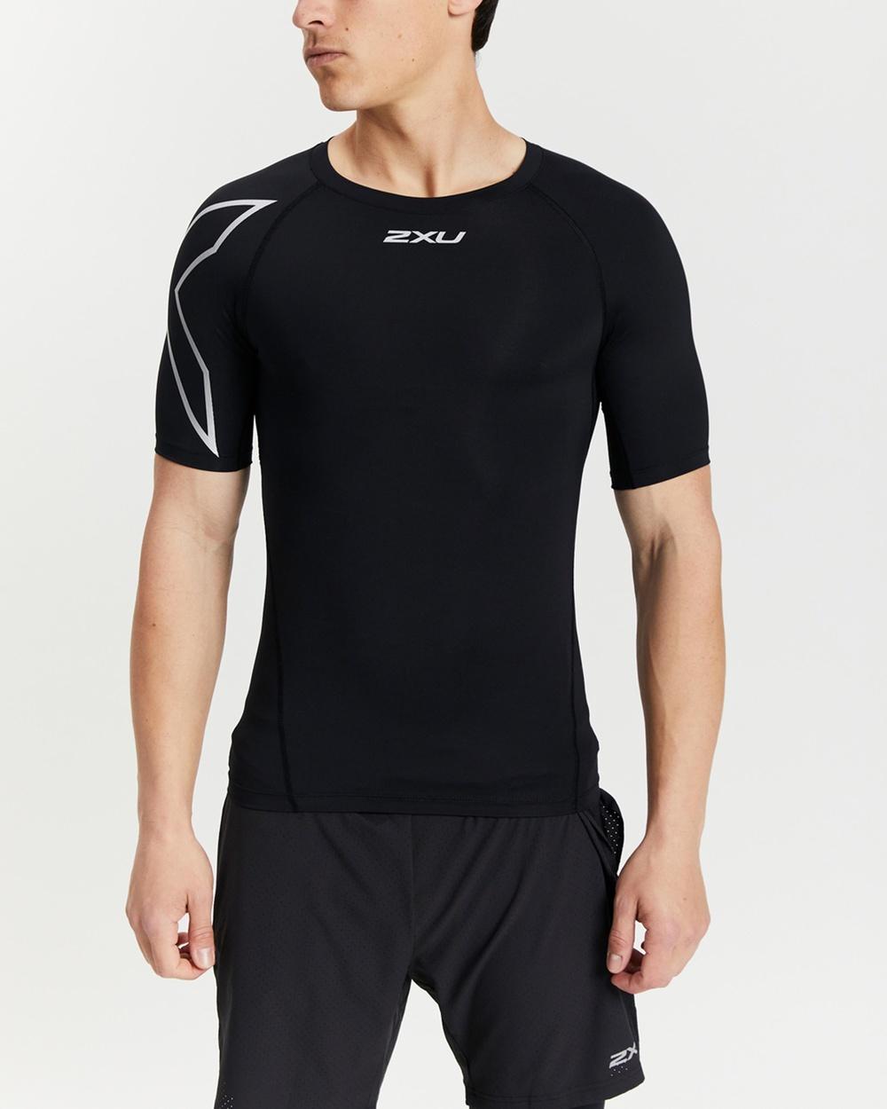 2XU Core Compression Short Sleeve Top all compression Black & Silver