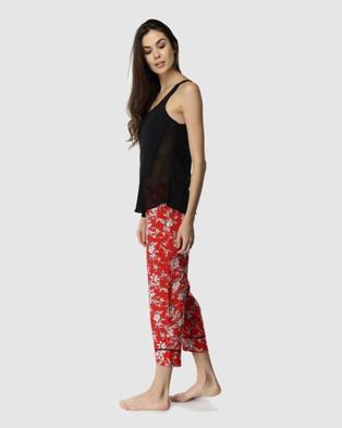 Deshabille Sleepwear  Blossom Cropped Pants & Tank Set - All gift sets (Red & Black)
