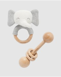Purebaby - Elephant Knit Teether & Rattle Set - Babies