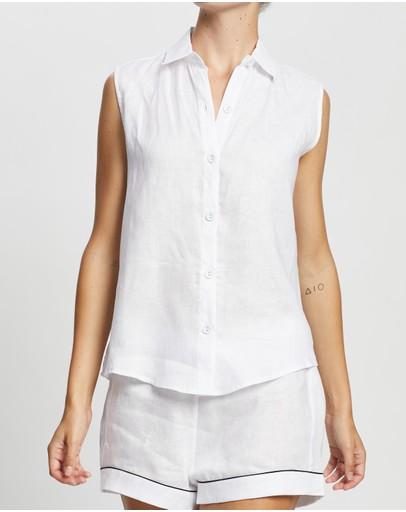 Jasmine And Will Sleeveless Short Set White With Navy Trim