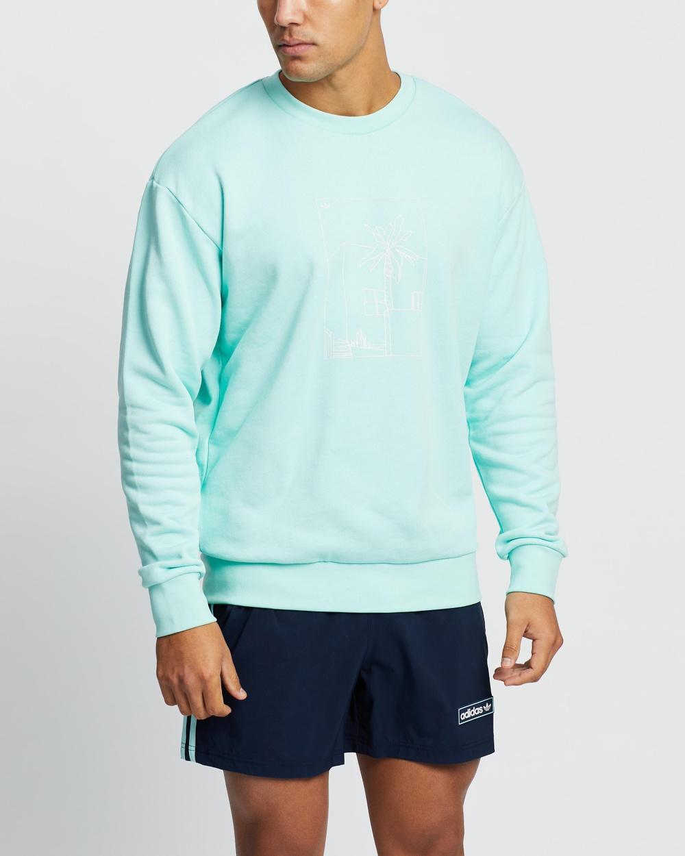 adidas Originals Linear Logo Crewneck Crew Necks Icy Mint