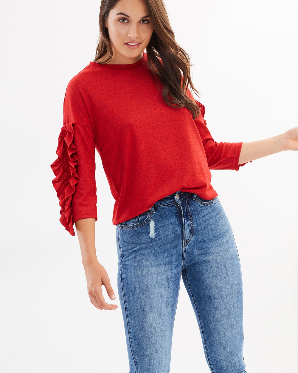 ONLY Ruffled LS Blouse Tops Flame Scarlet Ruffled LS Blouse