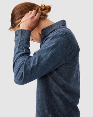 Cotton On Linen Cotton Long Sleeve Shirt - Casual shirts (Indigo)
