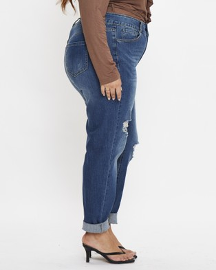 G Form Plus High Waist 2 Buttons Stretch Denim Jeans - High-Waisted (Blue)