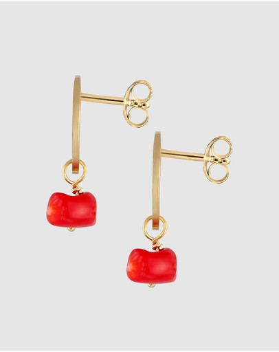 Elli Jewelry Earrings Platelet Vintage Coral In 925 Sterling Silver Gold Plated Red