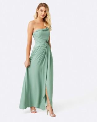 Little Mistress – Sage Jewel Waist Maxi Dress – Bridesmaid Dresses Sage
