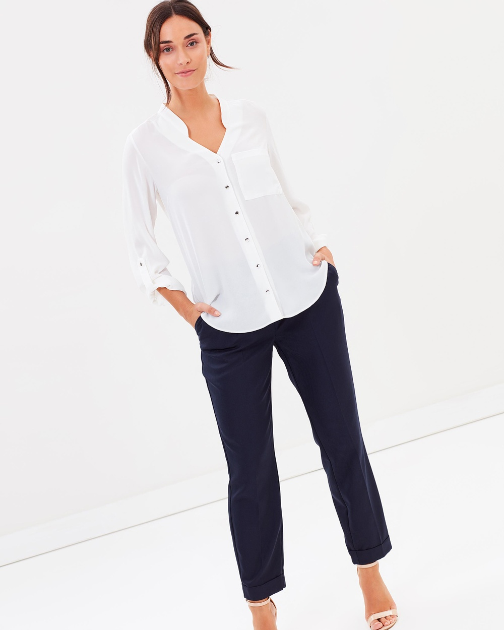 Dorothy Perkins Notch Shirt Tops Ivory Notch Shirt