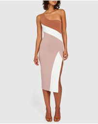 BY JOHNNY. - Taupe Tone Knit Midi Dress
