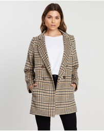 Atmos&Here - Check Wool Blend Coat