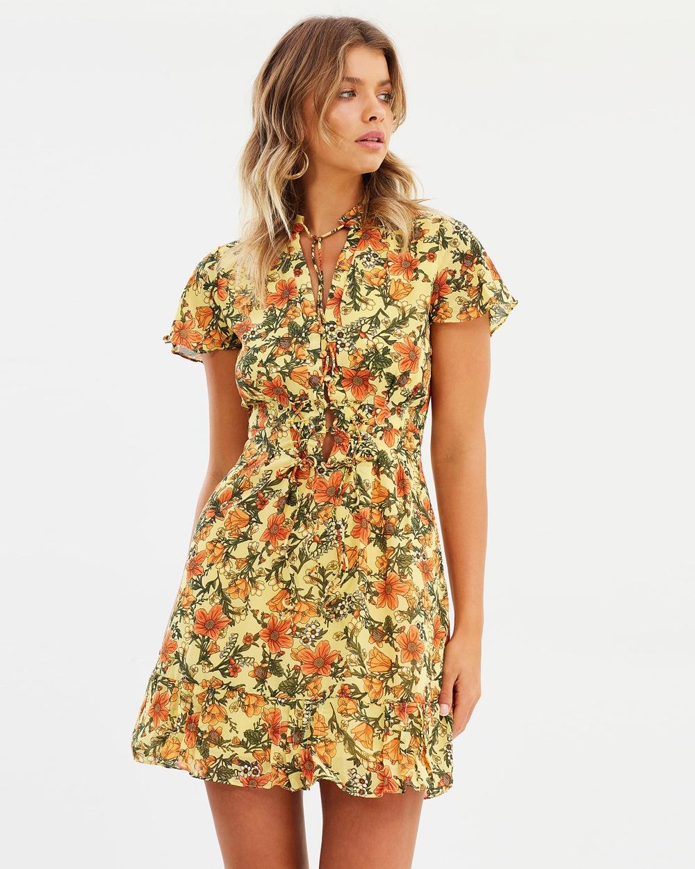 Atmos & Here ICONIC EXCLUSIVE Zelda Mini Dress Printed Dresses Wild Flowers ICONIC EXCLUSIVE Zelda Mini Dress