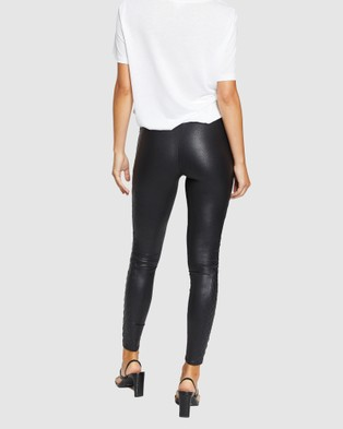Spanx Quilted Faux Leather Leggings - Pants (Black)
