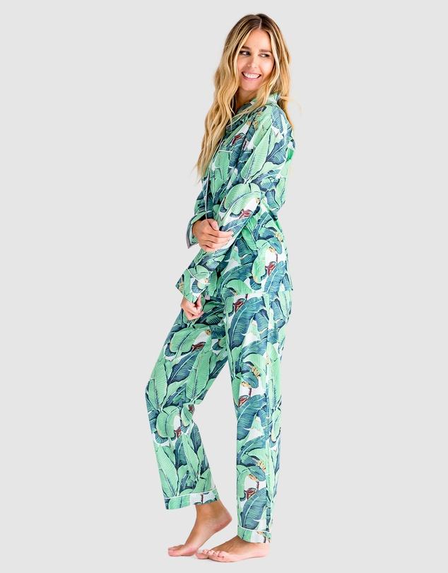 Women Martinique Banana Leaf Shirt + PJ Pants Set