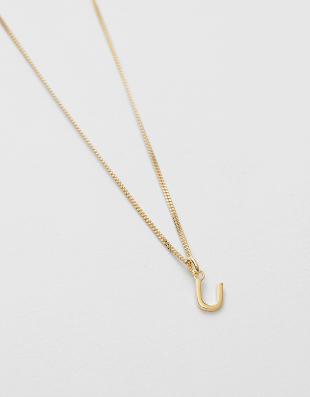 Women U Outline Initial Necklace