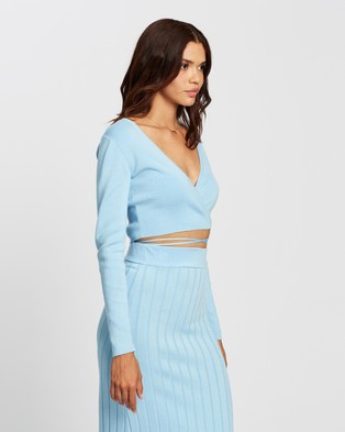 AERE Knit Wrap Top - Cropped tops (Blue)