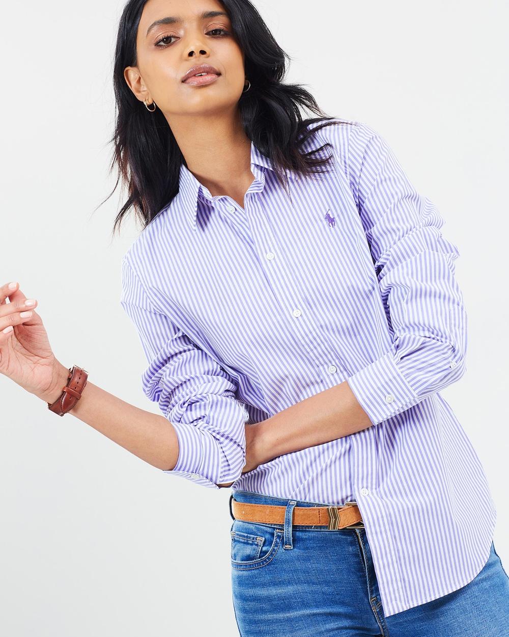 Polo Ralph Lauren Slim Fit Cotton Kendal Shirt Tops Purple Stripe Slim Fit Cotton Kendal Shirt