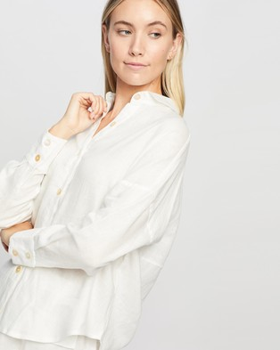 Le Buns Willow Linen Button Up Shirt - Tops (Ivory)