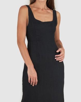 Amelius Silas Linen Midi Dress - Dresses (Black)