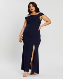 Boohoo - Plus Bardot Extreme Split Maxi Dress