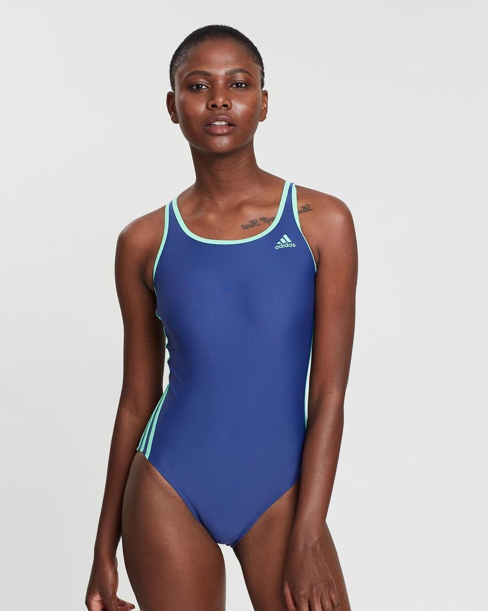 adidas Swim 3 Stripe Swimsuit One-Piece / Purple & Green 3-Stripe