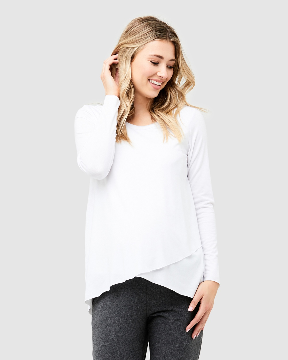 Ripe Maternity Raw Edge Nursing Top Tops White Raw Edge Nursing Top