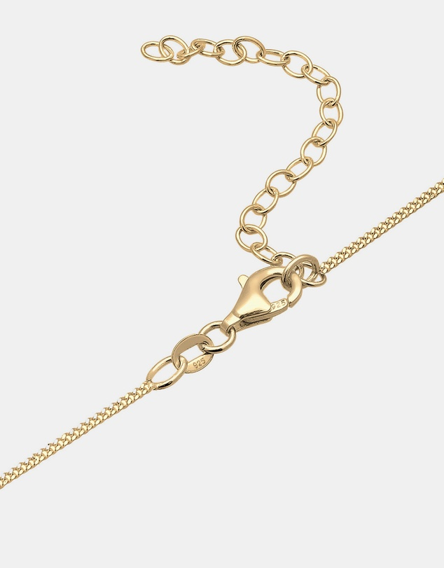 Elli Jewelry - Necklace Choker Cross Religion Zirconia 925 Silver Gold Plated