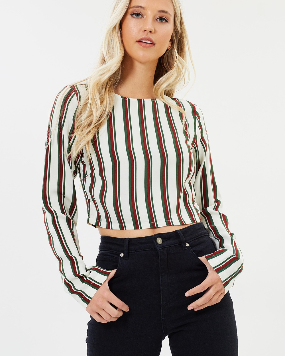 Dazie Great Heights Long Sleeve Top Cropped tops Double Stripe Great Heights Long Sleeve Top