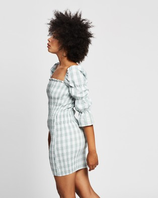 REVERSE Checked Mini Dress - Dresses (Green Check)