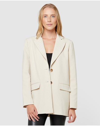Elka Collective Everly Blazer Parchment Pinstripe