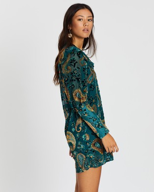 LENNI the label Firefly Burnout Sleeved Dress - Dresses (Teal Paisley)