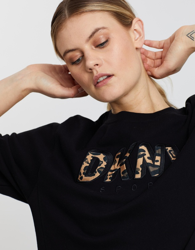 DKNY - Long Sleeve Pullover with Leopard Logo