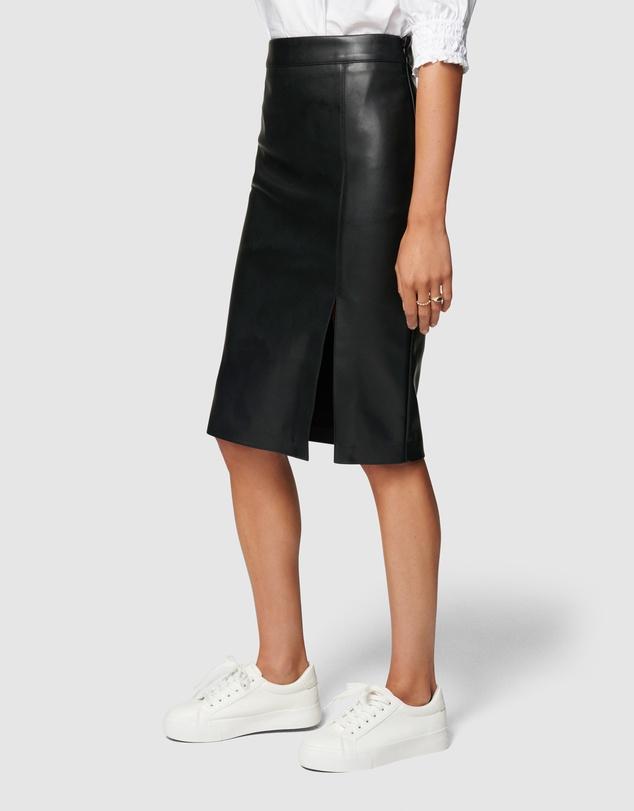 Women Emilia Vegan Leather Split Midi Skirt
