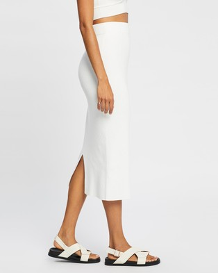 AERE Ribbed Midi Skirt - Skirts (Ivory)