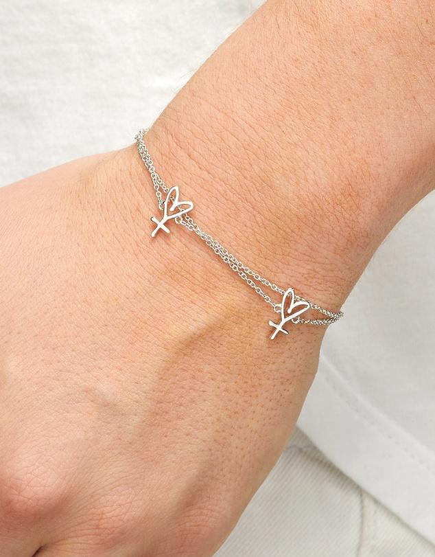 Women Double Chain Twin Hearts Bracelet