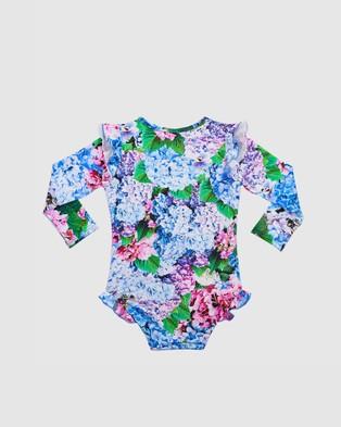 Aqua Blu Kids Blossom Flutter Long Sleeve One Piece   Babies - One-Piece / Swimsuit (Blossom)