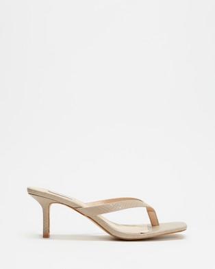 Dazie - Thong Heels Sandals (Taupe Lizard )