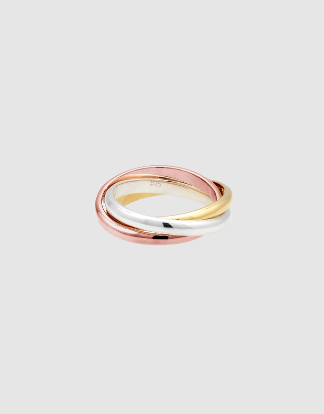 Women Ring Wrapped Basic Tri-Color 925 Sterling Silver Rosegold Plated